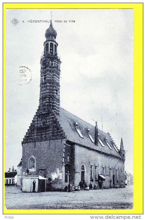 * Herentals - Hérenthals (Antwerpen - Anvers) * (SBP, Nr 4) Hotel De Ville, Stadhuis, Town Hall, TOP CPA, Animée, Rare - Herentals