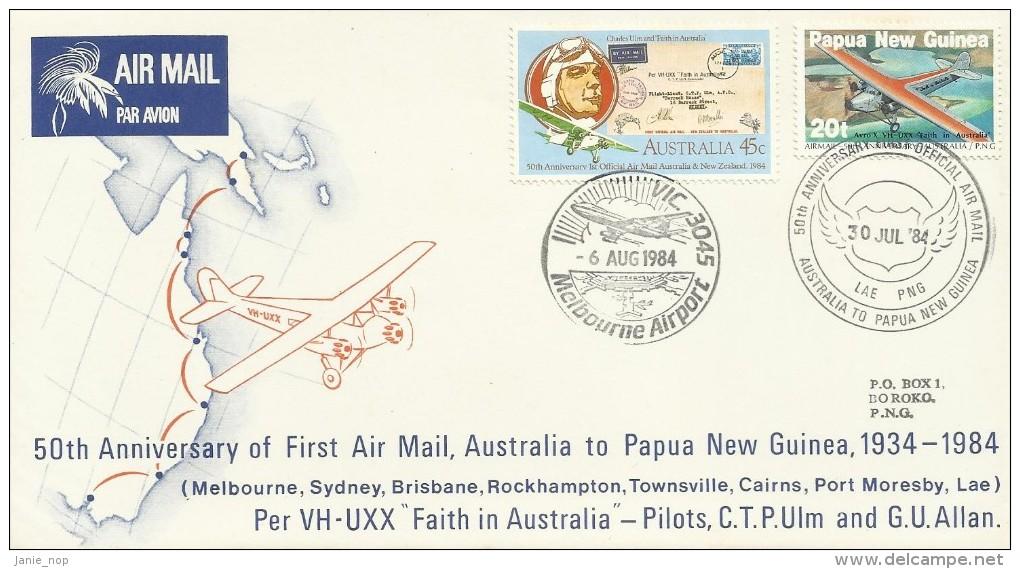Australia 1984 50th Anniversary First Airmail Australia Papua New Guinea Souvenir Cover - Australie