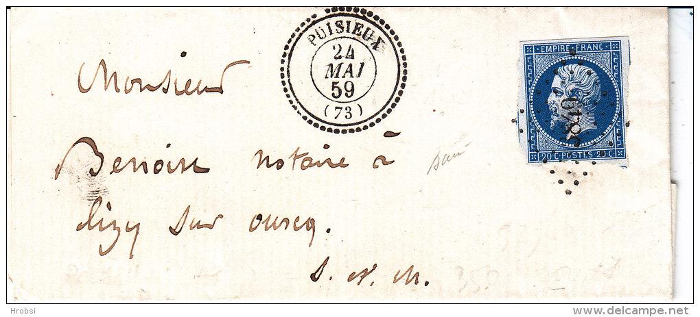 Seine Et Marne,  PUISIEUX, Cachet 22 Perlé, Pc 3849, Bien Frappé, Lettre Avec Correspondance - 1849-1876: Période Classique