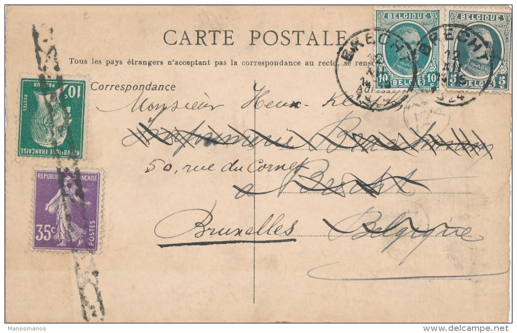 825/22 -  RARE MIXTE FRANCE/BELGIQUE - Carte Privée 1924 PARIS à BXL - TP Pasteur Et Semeuse , Puis Houyoux - 1922-1927 Houyoux