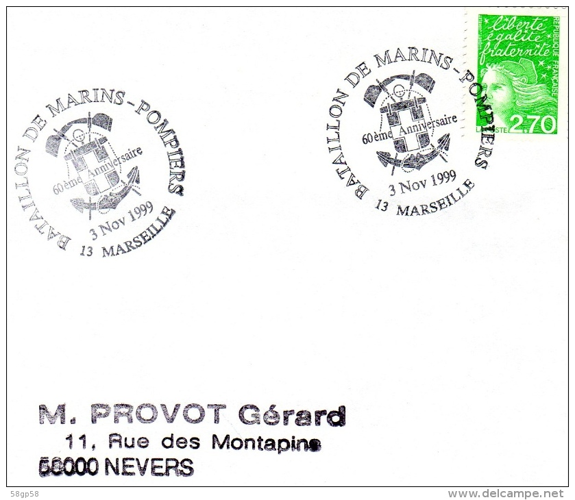 MARSEILLE, 13 : TàD 1999 Bataillon Des Marins-pompiers Marseille - 60e Anniversaire - Matasellos Conmemorativos