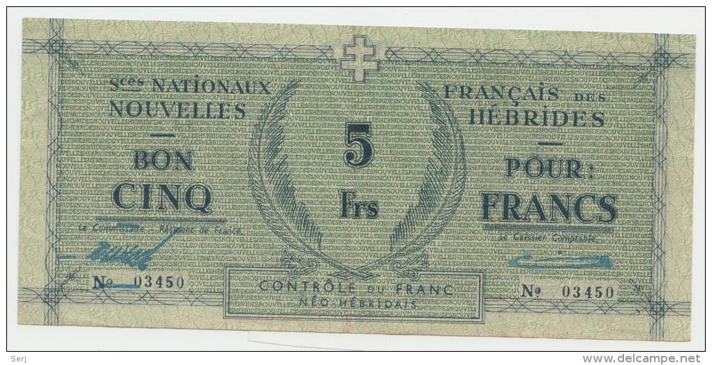 New Hebrides / Nouvelles Hébrides 5 Francs 1943 VF++ Pick 1 - Banknotes