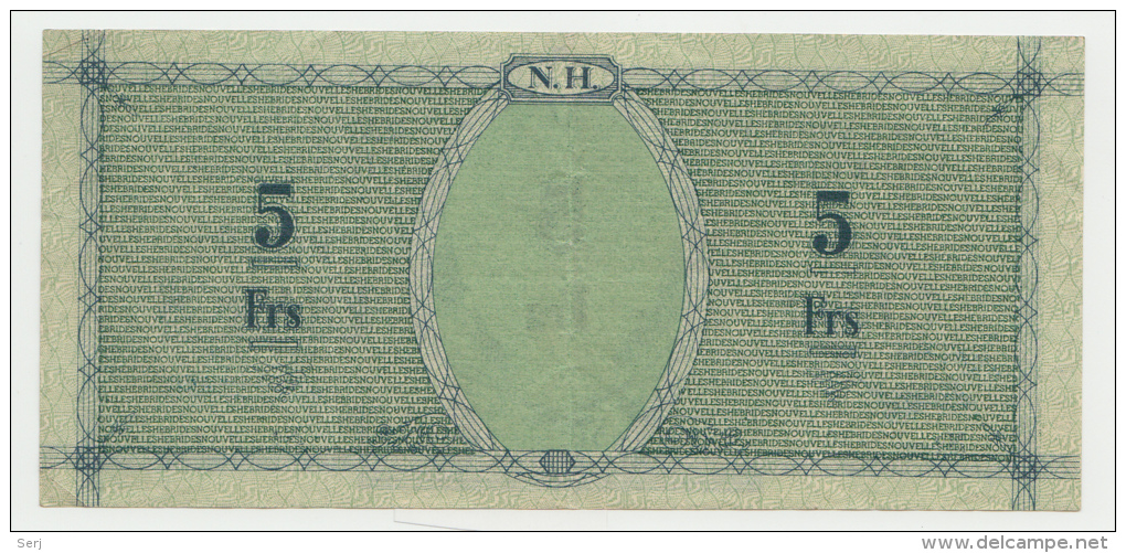 New Hebrides / Nouvelles Hébrides 5 Francs 1943 VF++ Pick 1 - Other - Oceania