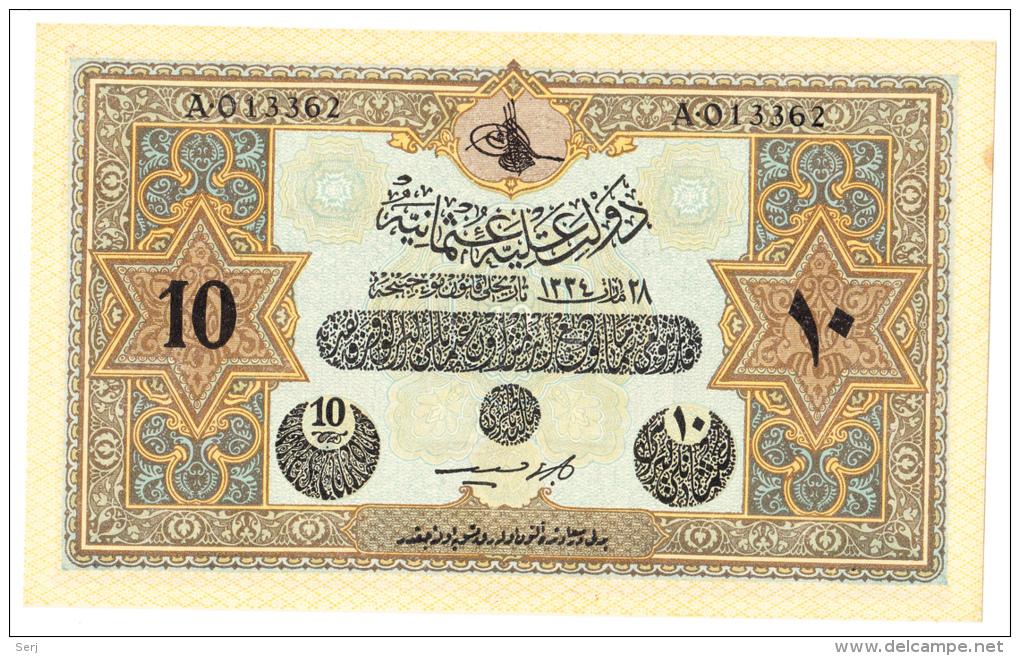 OTTOMAN TURKEY 10 Livres 1918 L. 1334 AUNC P 110x  (British Military Counterfeit) - Turkey
