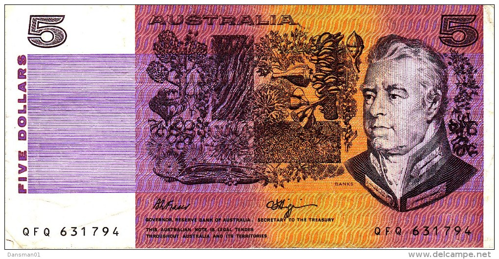 AUSTRALIA 1990 $5 Banknote Fraser/Higgins (no Tears) - Decimal Government Issues 1966-...