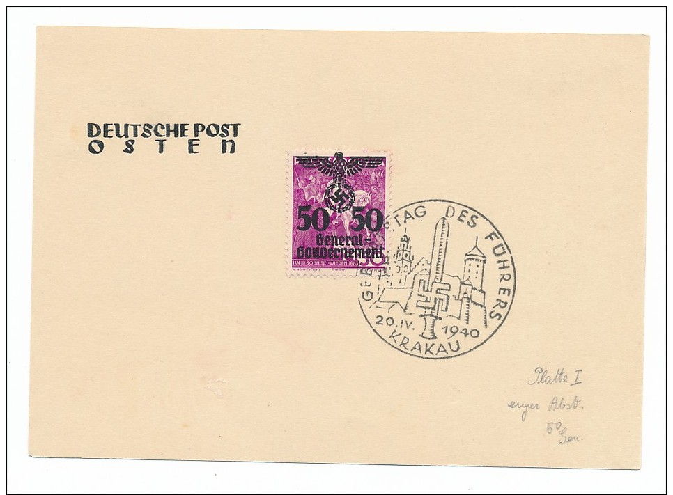 Generalgouverment Sonderstempel Beleg   ( Bc 1067 ) Siehe Scan - Besetzungen 1938-45