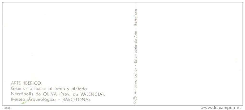 POSTAL   ARTE  IBÉRICO  - GRAN URNA HECHA AL TORNO Y PINTADA - MUSEO ARQUEOLÓGICO  -BARCELONA - Museos