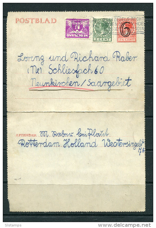 Netherlands 1931 Prov Letter Card Rotterdam To SAAR-State - Postal Stationery