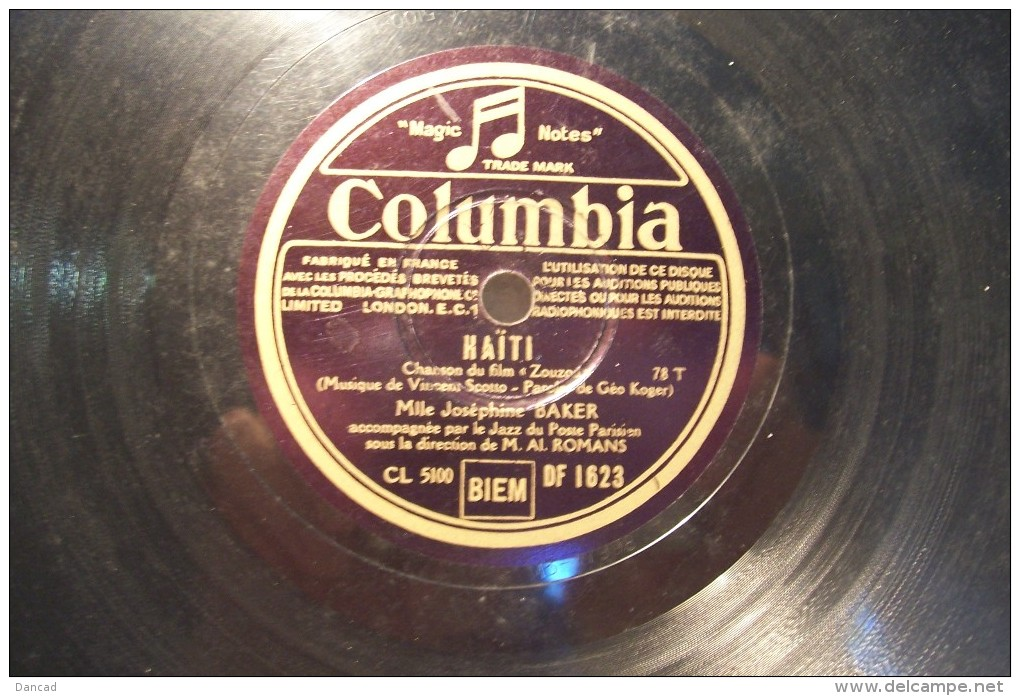 JOSEPHINE  BAKER  ---HAITI  --C' EST LUI - 78 Rpm - Gramophone Records