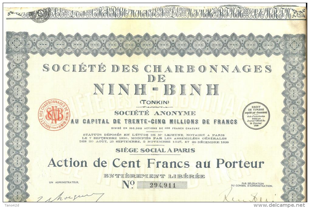LBR35B - ACTION DE LA STE. DES CHARBONNAGES DE NINH - BINH (TONKIN)  30 COUPONS ATTACHES - Asie