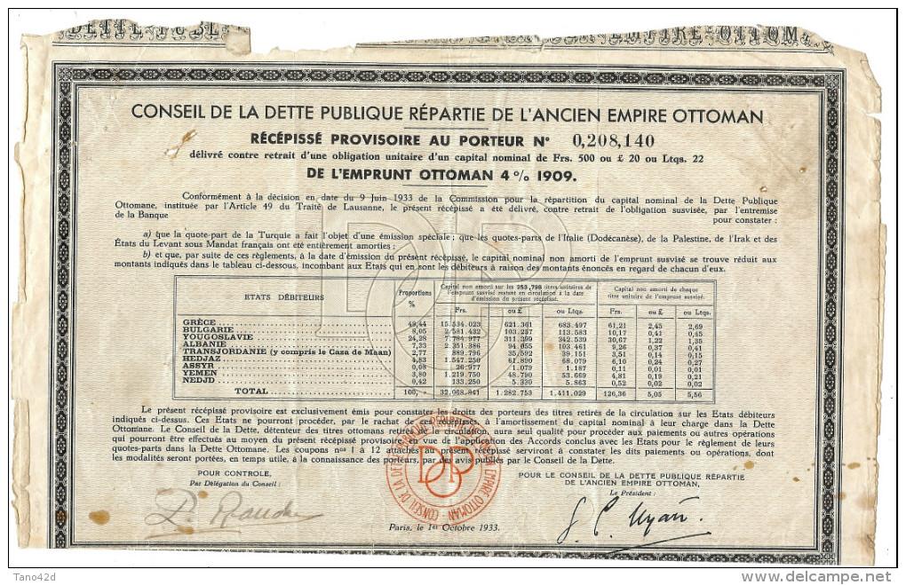 LBR35B - CONSEIL DE LA DETTE PUBLIQUE REPARTIE DE L'ANCIEN EMPIRE OTTOMAN 1933 - Banque & Assurance