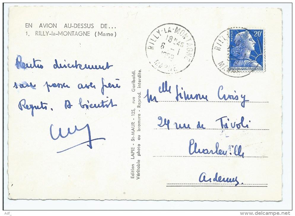 Cog@ JOLIE CPSM EN AVION AU DESSUS DE... RILLY LA MONTAGNE, VUE AERIENNE, CHAMPAGNE GERMAIN, MARNE 51 - Rilly-la-Montagne