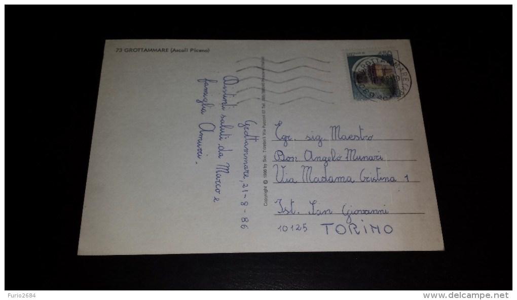 C-12765 CARTOLINA GROTTAMARE - ASCOLI PICENO - LUNGOMARE SPIAGGIA LIDI BALNEARI AUTO D'EPOCA - Ascoli Piceno