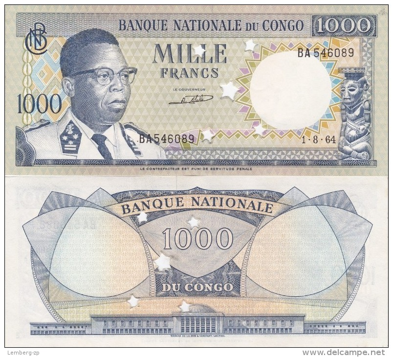 Congo Rep - 1000 Francs 1964 AUNC Cancelled Yellowing Lemberg-Zp - Congo