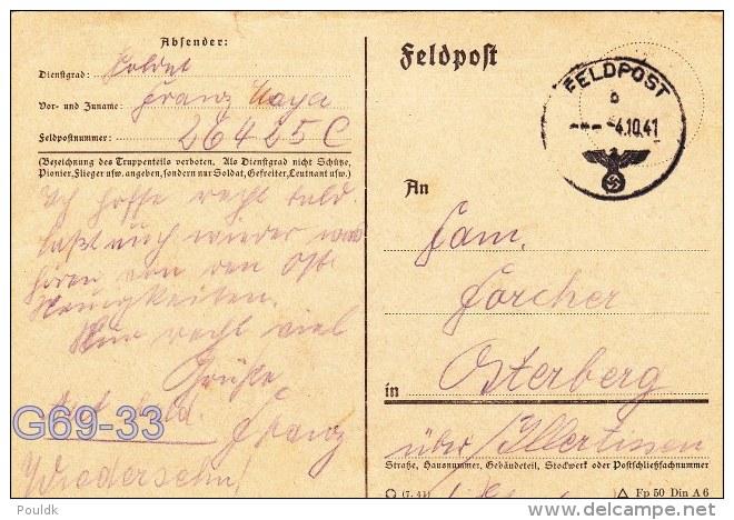Feldpost WW2: From Stalino: Gebirgsjager-Regiment 13 (7. Kompagnie/II) FP 26425C P/m 4.10.1941 - Plain Postcard Signed I - Militaria