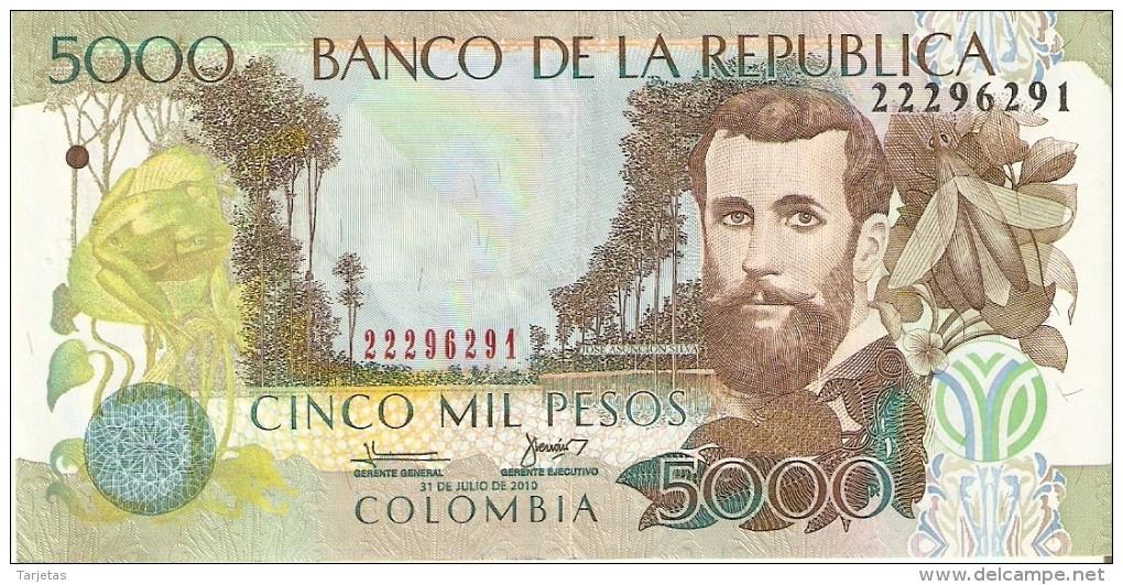 BILLETE DE COLOMBIA DE 5000 PESOS DEL AÑO 2010  (BANKNOTE) - Colombia