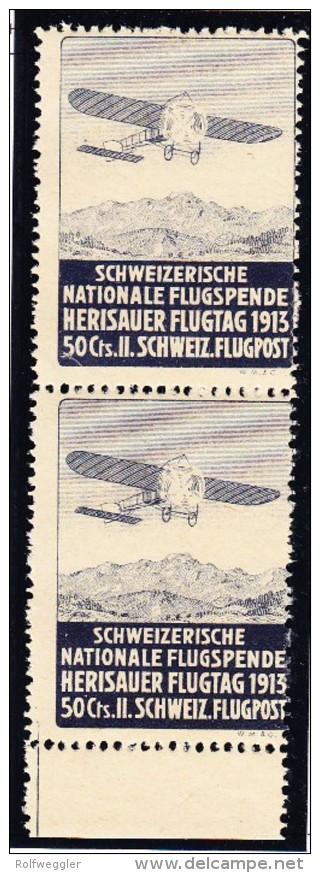 Flugpostmarken Schweiz. Nat. Flugspende Herisauer Flugtag SBK#V Senkrechtes Paar Verschobener Druck - Poste Aérienne