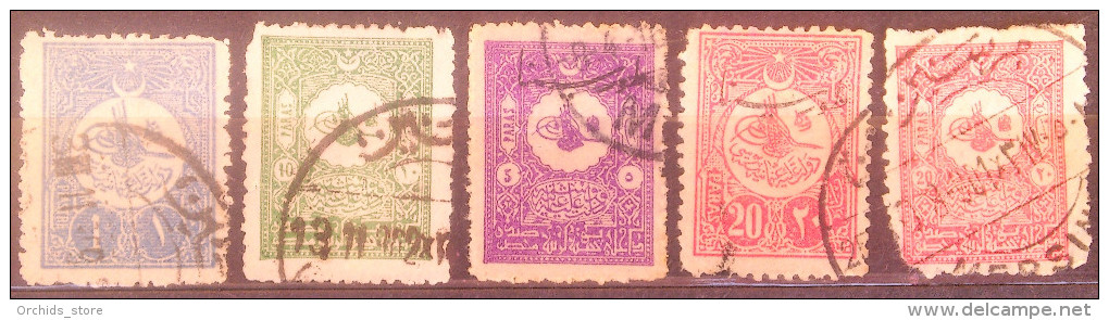 Turkey OTTOMAN EMPIRES 5 Stamps With Nice Postmarks - 1858-1921 Ottoman Empire