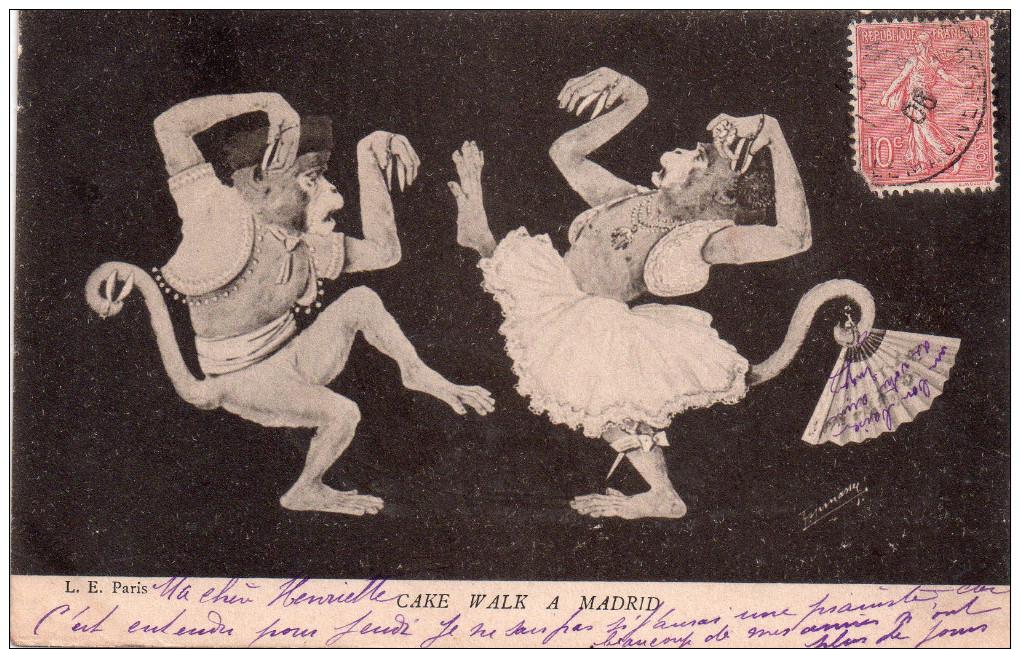 "Cpa  Illustree Et Signee , "" Cake Walk A Madrid "" Singes Humanises - Fantaisies"
