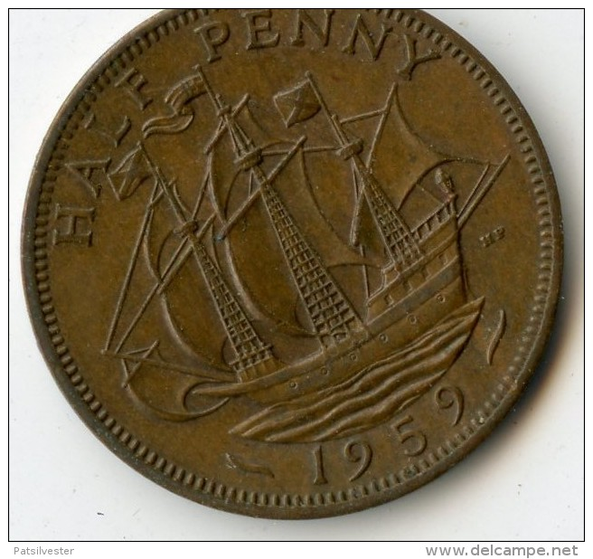 Great Britain Half Penny 1959 - 1902-1971: Postviktorianische Münzen