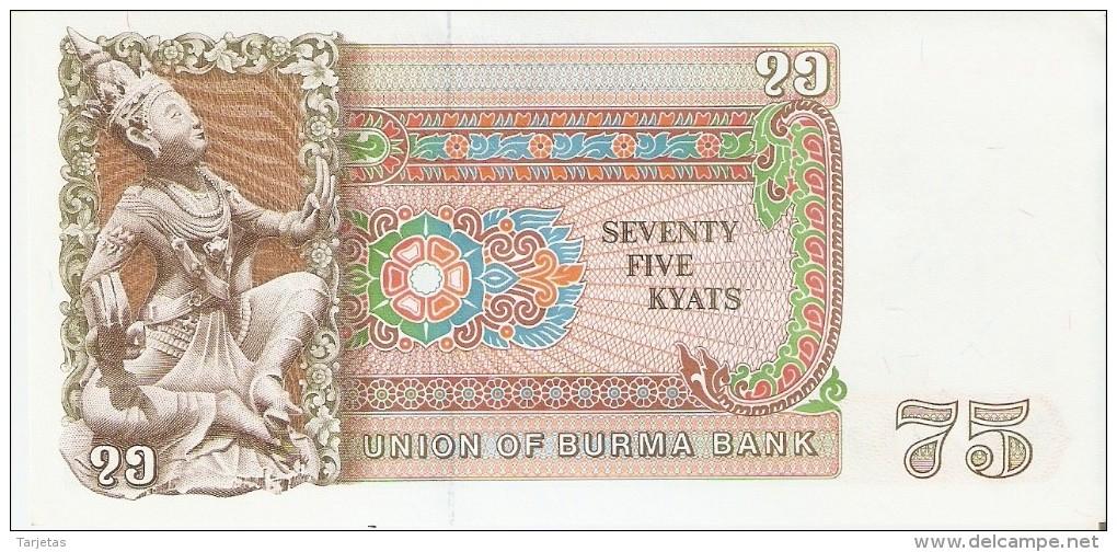 BILLETE DE BIRMANIA DE 75 KYATS (BANKNOTE) SIN CIRCULAR-UNCIRCULATED - Myanmar