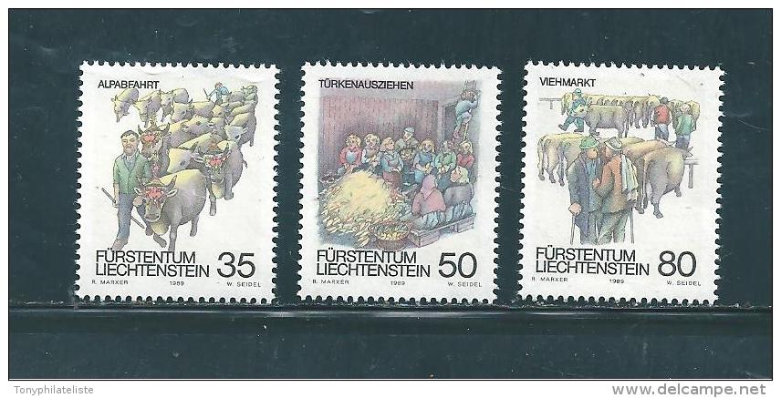 Liechtenstein Timbres De 1989  N°912  A  914   Neufs ** - Liechtenstein