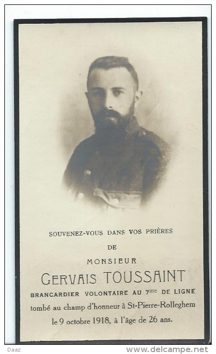 Souvenir G.Toussaint Soldat  Brancardier 7° De Ligne Dcd Champ D'honneur Rollegem Dalhem Waha (Marche) Guerre 14-18 Ww1 - Décès