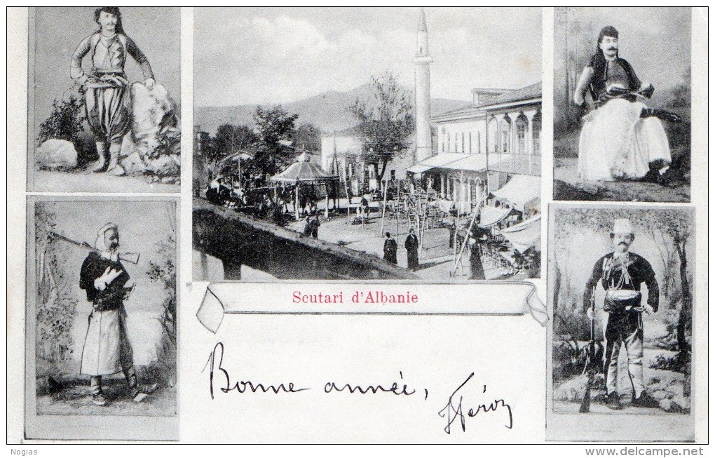 SCURATI D'ALBANIE - BELLE CARTE - MULTI-VUES - PERSONNAGES - AU CENTRE UNE PLACE ANIMEE - LA MOSQUEE - TOP !!! - Albania