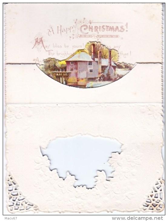 VICTORIAN  ERA  1880's   CHRISTMAS  CARD  3  DIMENSIONAL  CUT-OUT  TINSEL - Mechanical