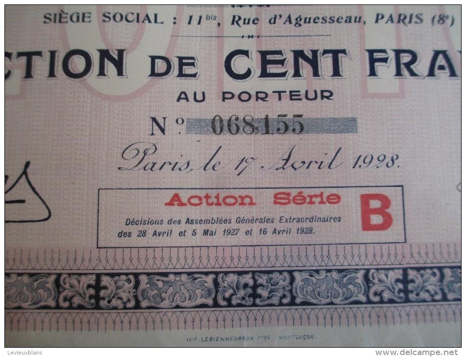 Action  De 100 Francs  Au Porteur/ Entreprises Générales Electriques & Industrielles   / 1928   ACT68 - Electricité & Gaz
