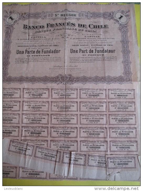 Une Part De Fondateur  Au Porteur /Banco Francés De Chile /1917 ACT73 - Banque & Assurance