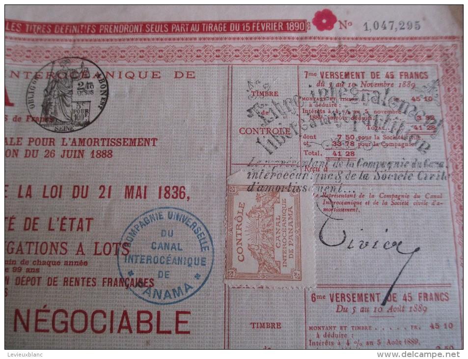 Titre Provisoire Au Porteur Négociable/Obligation Libérée De 60 Francs/Canal PANAMA /1888   ACT79 - Navigation