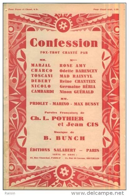 Confession Fox-trot  Chanté Paroles Ch.L. Pothier Et Jean Cis Musique B.Bunch  Ed. Salabert  BE - Partitions Musicales Anciennes