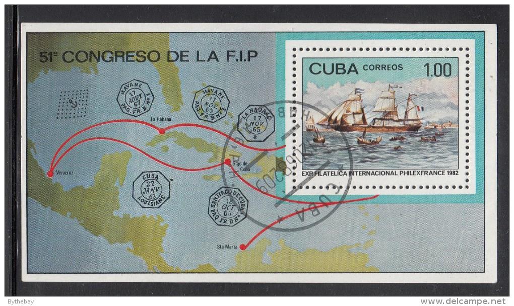 Cuba Used Scott #2516 Souvenir Sheet 1p Steamship ´Louisana´ At St. Nazaire - PHILEXFRANCE ´82 - Cuba