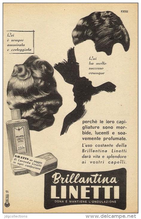 # BRILLANTINA LINETTI, ITALY 1950s Advert Pubblicità Publicitè Reklame Hair Fixer Fixateur Cheveux Fijador Haar - Unclassified