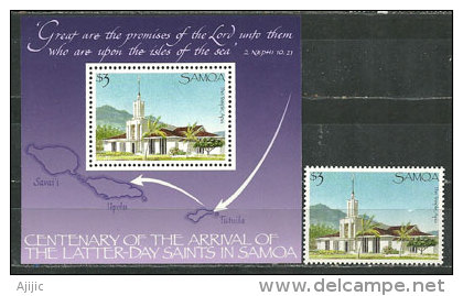 Temple Of The Church Of Jesus Christ Of Latter-day Saints (Grand Temple Mormon) D´Apia. ILES SAMOA. Un BF + Un T-p Neufs - Samoa
