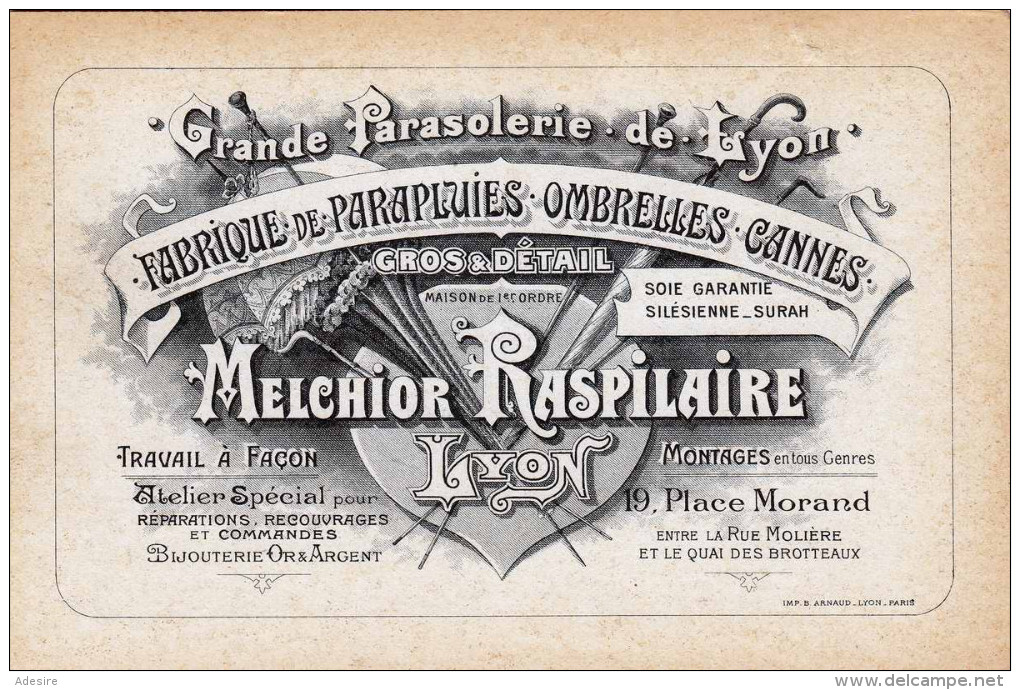 FABRIQUE DE PARAPLUIES OMBRELLES CANNES - Gros&Dètail - Melchior Raspilaire, Sehr Schöne Lihographische Werbekarte - Werbepostkarten