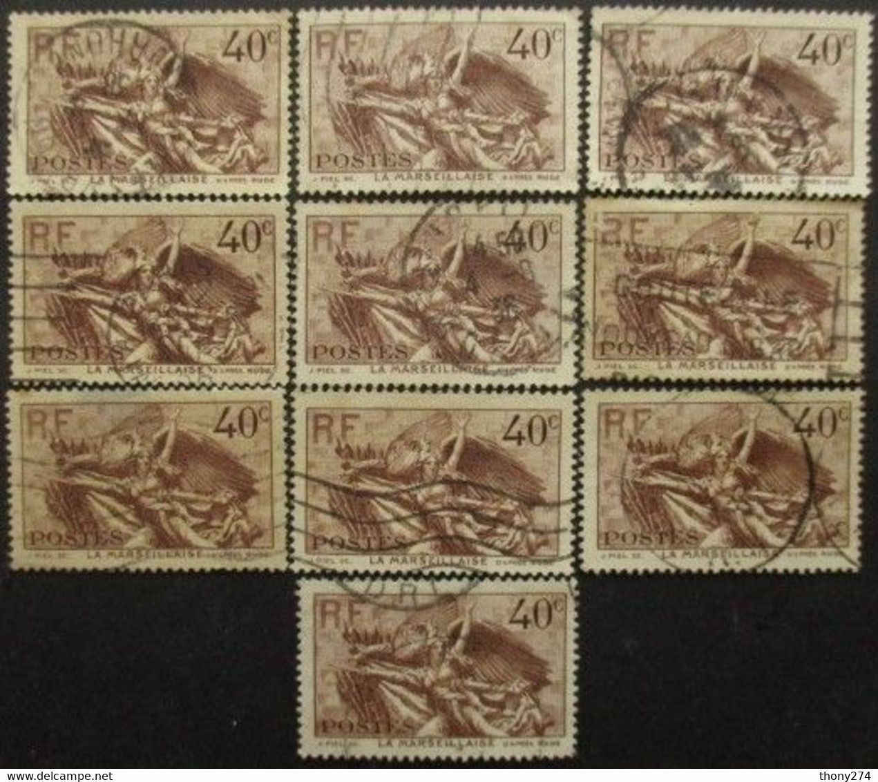 FRANCE N°315 X 9 Oblitéré - Vrac (max 999 Timbres)