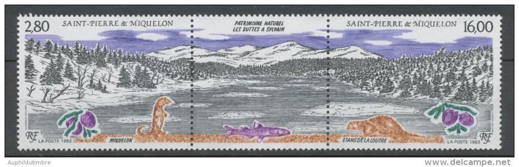 SPM  N°586A Patrimoine Naturel Des Iles St-Pierre-et-Miquelon Le Triptyque Avec Vignette Centrale ZC586A - St.Pierre & Miquelon