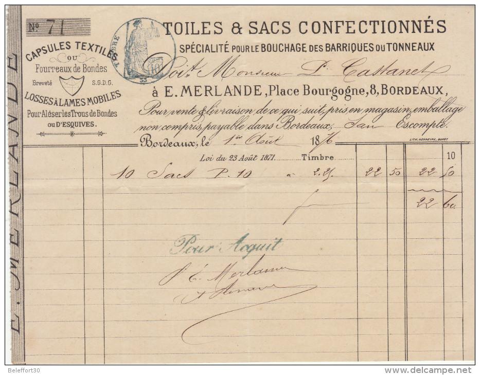 Gironde, Bordeaux, E. Merlande, Toiles à Sacs, Bouchage Des Tonneaux 1876 - France