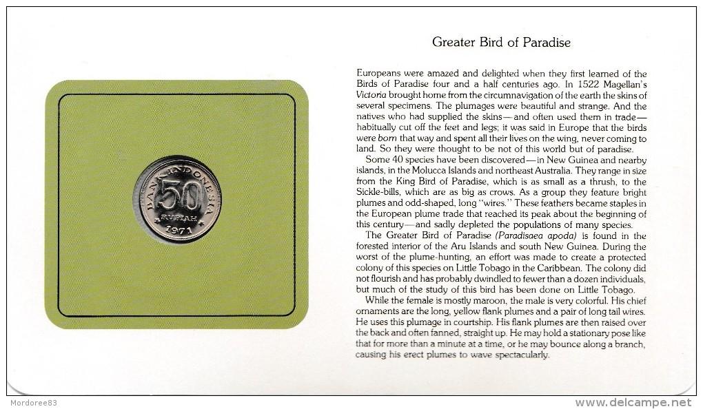 BIRD COINS OF THE WORLD GREATER BIRD OF PARADISE L OISEAU DU PARADIS CARTE NUMISMATIQUE FRANKLIN  RP50 1971   Tda20a - Indonésie