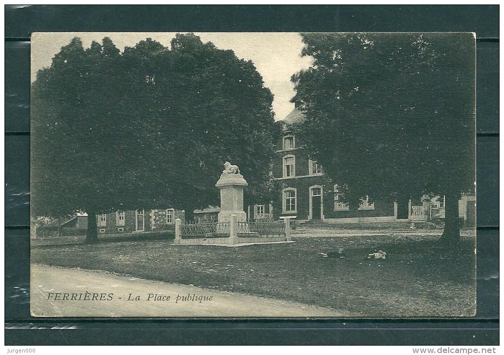 FERRIERES: La Place Publique, Gelopen Postkaart 1925 (GA17360) - Belgien