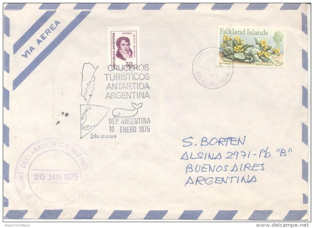 CRUCEROS TURISTICOS ANTARTIDA ARGENTINA SOBRE CIRCULADO 1975 FROM PORT STANLEY TO BUENOS AIRES JOINT DECLARATION OF BUEN - Polar Flights