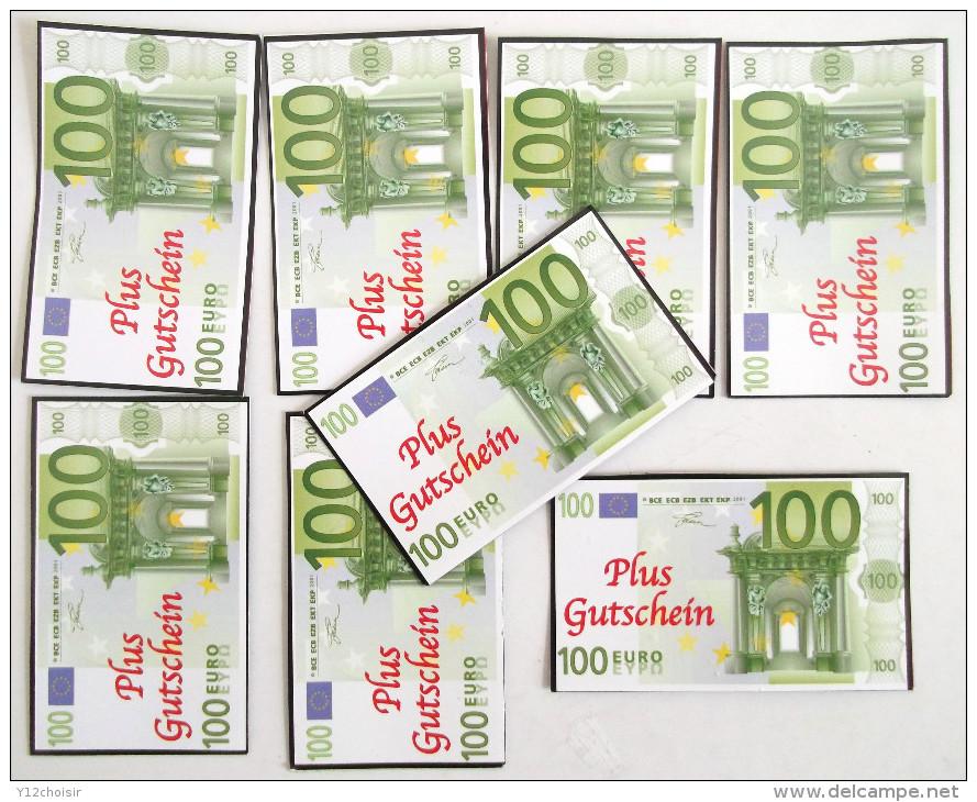 LOT DE 8 HUIT BILLETS SPECIMEN 100 EURO . FLYERS PUB PUBLICITE PAPIER GLACE - Specimen