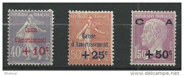 "FR YT 249 à 251 "" Série Caisse Amortissemment "" 1928 Neuf** - Sinking Fund"
