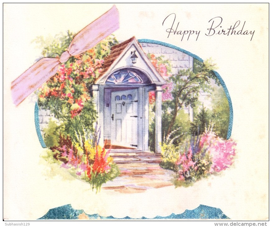 VERY OLD & VINTAGE GREETINGS CARD - PRINTED IN USA - HAPPY BIRTH DAY - USE OF CLOTH - Magnets
