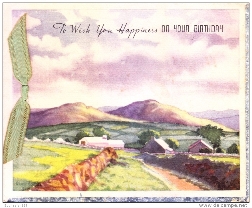 VERY OLD & VINTAGE GREETINGS CARD - PRINTED IN USA - TO WISH YOU HAPPINESS ON YOUR BIRTHDAY - Magnets