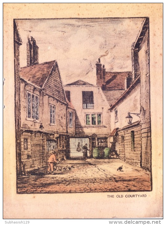 VERY OLD & VINTAGE GREETINGS CARD - OLD COURTYARD - Other