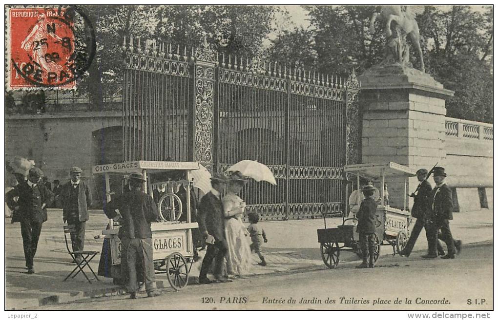 75008 PARIS Entrée Du Jardin Des Tuileries Place De La Concorde Marchand Ambulant Glaces Coco CPA Ed. S.I.P. 120 - District 08
