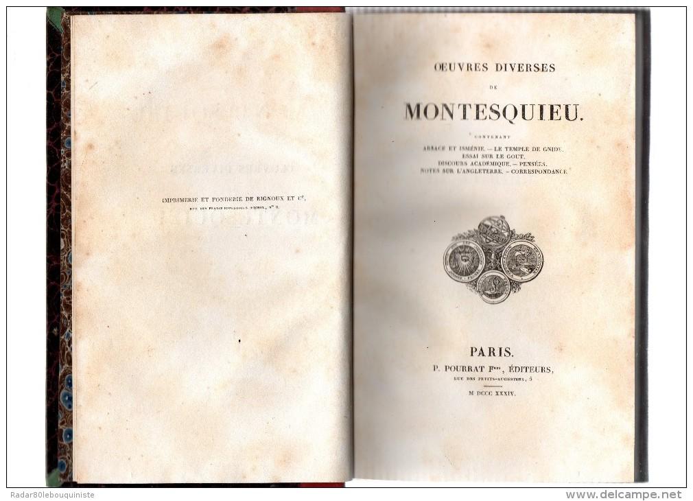 Oeuvres Diverses De MONTESQUIEU.499 Pages.MDCCC.XXXIV (1834).in-8. - Livres, BD, Revues